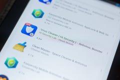 Рязань, Россия - 16-ое мая 2018: Значок или логотип app уборщика вируса в списке передвижных apps Стоковые Фото