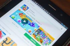 Рязань, Россия - 16-ое мая 2018: Значок или логотип Fishdom app в списке передвижных apps Стоковое фото RF