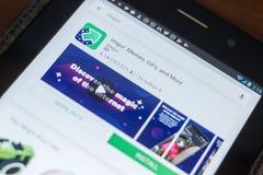 Рязань, Россия - 16-ое мая 2018: Значок или логотип Imgur app в списке передвижных apps Стоковое Изображение