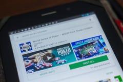 Рязань, Россия - 16-ое мая 2018: Отборочные матчи чемпионата мира значка или логотипа app покера в списке передвижных apps Стоковое фото RF