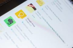 Рязань, Россия - 16-ое мая 2018: Google держит значок или логотип app в списке передвижных apps Стоковая Фотография RF