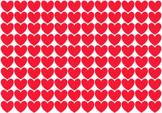 Рядки красных сердец Иллюстрация штока