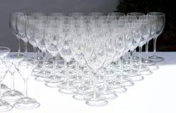 рядки стекел к используемому вину Стоковое Фото