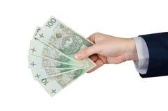 Ряд польских банкнот в руке Стоковые Изображения RF