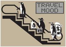 Рenguins на эскалаторе иллюстрация штока