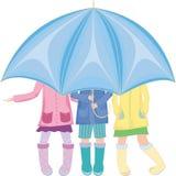садит зонтик на мель вниз Стоковая Фотография