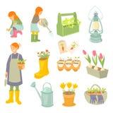 Садовники матери и дочерей Установленные работы сада весны Стоковое Изображение