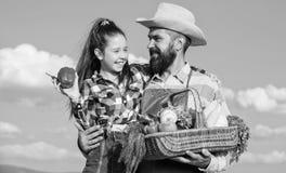 Садовничать и сбор Концепция фермы семьи Только фермер органического и свежего человека сбора бородатый деревенский с ребенк стоковые изображения