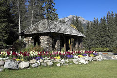 сады каскада banff Стоковая Фотография RF