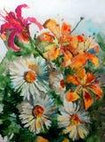 Сад весны ветви цветения букета lilyes стоцвета белого цветка оранжевого красного цвета природы предпосылки искусства акварели кр Стоковое фото RF