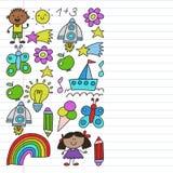 Сад детей, Patern, дети руки вычерченные садовничает элементы картина, иллюстрация doodle, вектор, иллюстрация, вертикаль, линия иллюстрация вектора