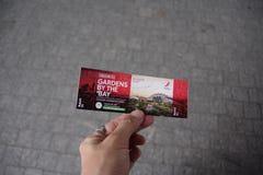 Сад заливом, Сингапур - 15,2018 -го сентябрь билет на саде заливом Сингапуром стоковые фото