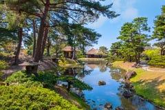 Сад травы Oyakuen целебный в Aizuwakamatsu, Фукусиме, Японии Стоковое Изображение RF