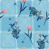 Сад цветет в наличии нарисованная проверка окна или patte решетки безшовное иллюстрация штока