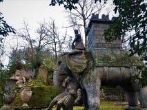 Сад Bomarzo, священная роща, парк чудовищ, слон Hannibal стоковое изображение