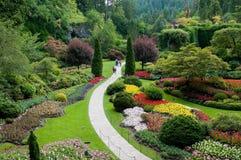 сад butchart садовничает sunken взгляд стоковое фото