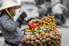 Сайгон, Вьетнам - 30-ое июня 2017: Женщина продавая плодоовощ на улице, Сайгоне, Вьетнаме Стоковые Изображения RF