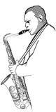 Саксофонист на белой предпосылке Стоковая Фотография