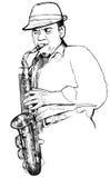 Саксофонист на белой предпосылке Стоковые Изображения