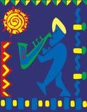 Саксофонист на масленице иллюстрация вектора