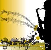 саксофон игрока конструкции Стоковое Фото