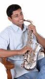 саксофон игрока стоковое фото