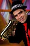 саксофон игрока Стоковые Фото