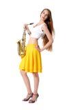 саксофон мюзикл аппаратуры девушки Стоковое Фото