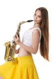саксофон мюзикл аппаратуры девушки Стоковые Изображения