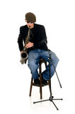 саксофон совершителя нот Стоковое Изображение RF