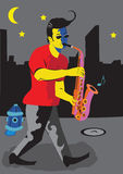 саксофон человека Стоковое Изображение