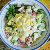 Салат весны с редиской, огурцом, яйцами и сметаной Конец-вверх, селективный фокус стоковые изображения