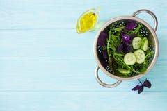 Салат листьев смешанного салата, frisee, arugula, базилик и cocomber Стоковая Фотография