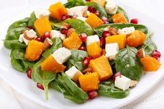 Салат листьев шпината, испеченного сыра тыквы и фета с миндалинами и семенами гранатового дерева стоковое фото