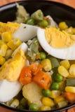 Салат макроса крупного плана vegetable с мозолью eggs морковь картошек Стоковые Изображения RF