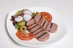 Салат мяса завтрака с томатами Стоковые Фото