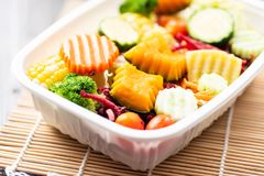 Салат овощей в пластичной коробке Стоковое Изображение RF