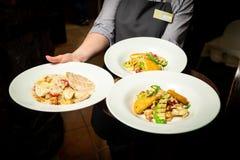 Салат овощей и мяса на красивой белой плите стоковое изображение