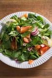 Салат огурца редиски шпината копченых семг с лимоном на белой плите на деревянном столе Стоковое Изображение