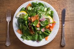 Салат огурца редиски шпината копченых семг с лимоном на белой плите на деревянном столе Стоковая Фотография RF
