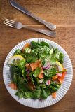 Салат огурца редиски шпината копченых семг с лимоном на белой плите на деревянном столе Стоковые Фото