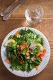 Салат огурца редиски шпината копченых семг с лимоном на белой плите на деревянном столе Стоковое фото RF