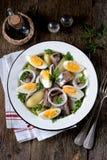 Салат от свет-посоленных сельдей, кипеть картошек, яичек и луков с оливковым маслом и лимонным соком Деревенский тип Стоковые Фото