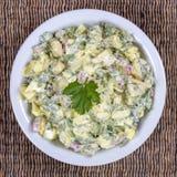 Салат редиски, вареного яйца, петрушки и сметаны в белом шаре - здоровой концепции завтрака Стоковые Фото