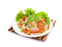 Салат свинины тайской кухни пряный на белой предпосылке или Yum Moo Yor, пряная въетнамская сосиска стоковые изображения rf