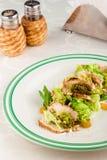 Салат смешивания с гайками цыпленка и сосны стоковые изображения rf