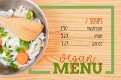 Салат с границей рамки прямоугольника карточки меню Vegan Стоковые Фотографии RF