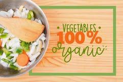 Салат с границей рамки прямоугольника карточки меню Vegan Стоковое Изображение