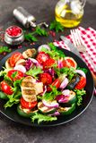 Салат с свежими и зажаренными овощами и грибами Vegetable салат с зажаренными champignons овощ салата плиты Стоковые Фото