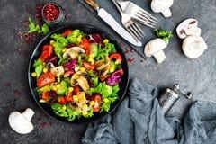 Салат с свежими и зажаренными овощами и грибами Vegetable салат с зажаренными champignons овощ салата плиты Стоковая Фотография RF